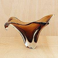 Art glass centerpiece, 'Modern Bloom' - Murano Inspired Brown Hand Blown Glass Art Centerpiece