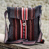 Novica Shoulder bag, Inca Paths - Striped Shoulder Bag Handmade in Peru