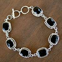 Onyx link bracelet, 'Enchantment' - Sterling Silver and Onyx Link Bracelet