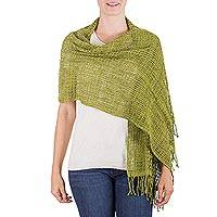 Cotton shawl, 'Forest Lattice' - Modern Maya Backstrap Loom Handwoven Green Cotton Shawl