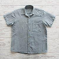Men's short-sleeved cotton shirt, 'Pacific Ocean' - Blue Striped Short-Sleeved Men's Cotton Shirt