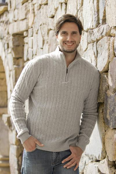 Men's wool blend quarter-zip sweater, 'Legend' - Etruscan Quarter Zip Wool Blend Sweater in Grey