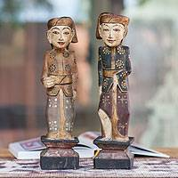 Wood sculptures, 'Guardians of Singaraja' (pair) - Wood sculptures (Pair)