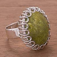 Serpentine cocktail ring, 'Finesse' - Handcrafted Serpentine and Sterling Silver Cocktail Ring