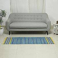 Cotton rug, 'Sky Over Kutch' (2x3) - Indian Handwoven Blue and Yellow Striped Dhurrie Rug (2 x 3)