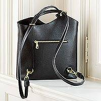 Convertible black leather backpack, 'Italian Interlude' - Italian Black Leather Backpack or Purse