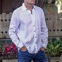 Men's woven cotton shirt, 'Pure White' - Lightweight Sheer White Cotton Long-Sleeved Shirt for Men