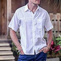 Men's cotton short sleeve shirt, 'Denpasar White' - Men's White Short Sleeved Cotton Shirt from Bali