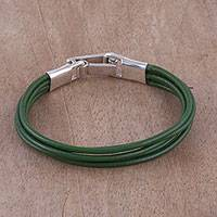 Leather wristband bracelet, 'Green Mirage' - Handcrafted Green Leather Wristband Bracelet from Peru