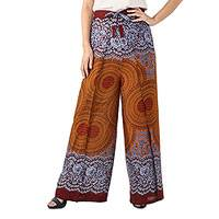 Rayon wrap pants, 'Exotic Holiday in Brown' - Bohemian Style Rayon Wrap Pants with Mandala Print