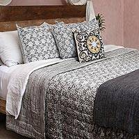 Reversible cotton quilt and pillow covers, 'Misty Morning' (3 piece set) - Grey and White Block Print Quilt and Pillow Covers (3 Pc)