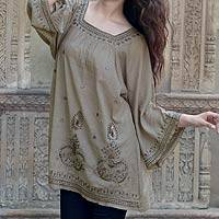 Beaded cotton blouse, 'Romance' - Artisan Crafted Cotton Embroidered and Beaded Blouse Top