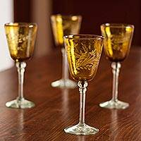 Etched wine glasses, 'Amber Flowers' (set of 4) - Hand Blown Wine Glasses Set of 4 Etched Stemware Mexico