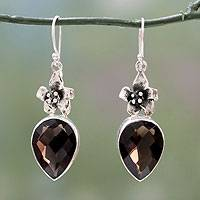 Smoky quartz flower earrings, 'Flower of the Universe' - Sterling Silver and Smokey Quartz Earrings Floral Jewelry