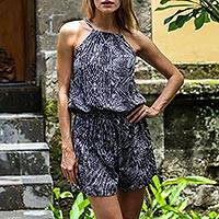 Rayon romper, 'Banana Bark in Black' - Handmade Indonesian Black and White Women's Rayon Romper