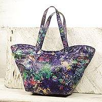 Tie-dyed leather shoulder bag, 'Colorful Cosmos' - Handcrafted Tie-Dyed Leather Shoulder Bag from Ghana