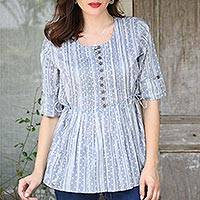 Cotton blouse, 'Dancing Bubbles in Grey' - Artisan Crafted 100% Cotton Blouse in Grey and White