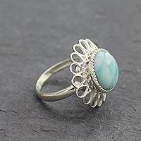 Larimar flower ring, 'Azure Blossom' - Larimar Single Stone Ring