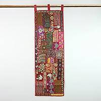 Patchwork wall hanging, 'Strawberry Symphony' - Recycled Patchwork Floral Wall Hanging from India