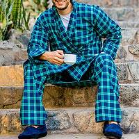 Men's cotton flannel pajama pant, 'High Glen' - Men's Irish Brushed Cotton Flannel Pajama Pant