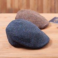 Men's wool touring cap, 'Arranmore' - Men's Heathered Donegal Wool Tweed Touring Cap