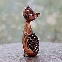 Wood statuette, 'Feline Mischief' - Cat Wood Statuette Artisan Crafted with Openwork
