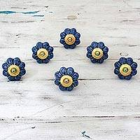 Ceramic cabinet knobs, 'Flower Harmony in Blue' (set of 6) - Ceramic Cabinet Knobs Floral Blue (Set of 6) from India