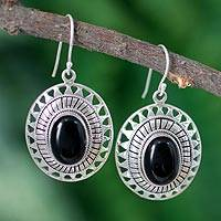 Onyx dangle earrings, 'Tribal Medallion' - Handcrafted Sterling Silver Earrings with Onyx