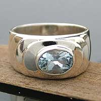 Blue topaz solitaire ring, 'Whirlpool' - Handcrafted Sterling Silver Single Stone Blue Topaz Ring