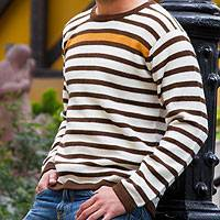 Men's 100% alpaca sweater, 'Andean Sun' - Men's Gold Accent Brown and White Alpaca Wool Sweater