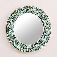 Glass mosaic mirror, 'Aqua Splash' - Aqua and Lime Round Glass Mosaic Mirror from India