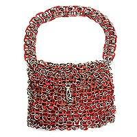 Soda pop-top bag, 'Mini-Shimmery Red' - Soda pop-top bag