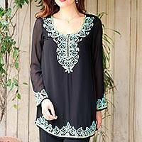 Beaded tunic, 'Midnight Celebration' - Hand Beaded Sheer Lined Black Polyester Long-Sleeved Tunic