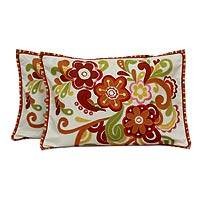 Applique cushion covers, 'Flower Festival' (pair) - Applique cushion covers (Pair)