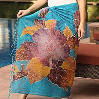 Cotton batik sarong, 'Chinese Rose Garden' - Cotton Batik Sarong Purple and Blue