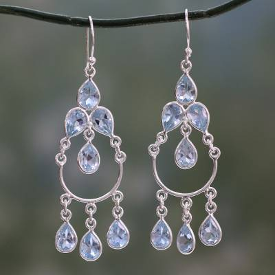 Blue topaz handcrafted sterling silver chandelier earrings azure blue topaz chandelier earrings azure elegance blue topaz handcrafted sterling silver chandelier aloadofball Image collections