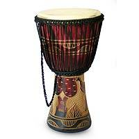 Wood djembe drum, 'Elephant Beat' - Wood djembe drum