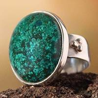 Chrysocolla cocktail ring, 'Living Planet' - Sterling Silver Chrysocolla Cocktail Ring