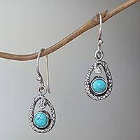 Turquoise dangle earrings, 'Blue Cobra' - Natural Turquoise Artisan Crafted Sterling Silver Earrings