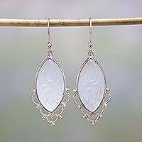 Chalcedony dangle earrings, 'Heavenly Bliss' - Chalcedony and Sterling Silver Dangle Earrings from India