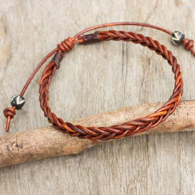 Braided Leather Bracelet Cinnamon Braid Brown From Thailand