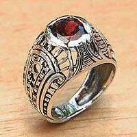 Garnet domed ring, 'Denpasar Temple' - Sterling Silver Domed Ring with Faceted Red Garnet