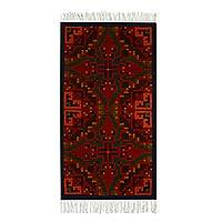 Wool area rug, 'Zapotec Flourish' (2.5x5) - Deep Red and Multi-Color Zapotec Style Wool Area Rug (2.5x5)
