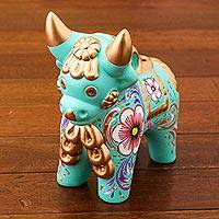 Ceramic figurine, 'Aqua Pucara Bull' - Aqua Painted Floral Motif Ceramic Bull Sculpture from Peru