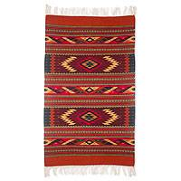 Zapotec wool rug, 'Star Twins' (2.5x5) - Geometric Wool Area Rug (2.5x5)