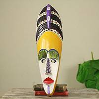 African wood mask, 'Obaa Yaa' - Painted African Wood Mask of Akan Woman Crafted by Hand