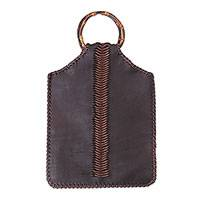 Leather handle handbag, 'Berani Beauty' - Handcrafted Balinese Leather and Bamboo Handle Handbag