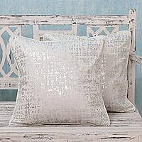 Cotton cushion covers, 'Silver Shower' (pair) - Silver Print on Cotton Cushion Covers from India (Pair)