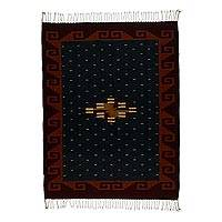 Zapotec wool rug, 'Mitla by Starlight' (4x6) - Zapotec Wool Area Rug (4x6)