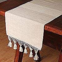 Cotton and silk blend table runner, 'Mexican Sands' - Cotton and Silk Blend Table Runner in Almond from Mexico